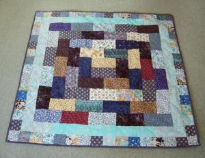 Scrappy brick quilt