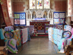 Church quilt display
